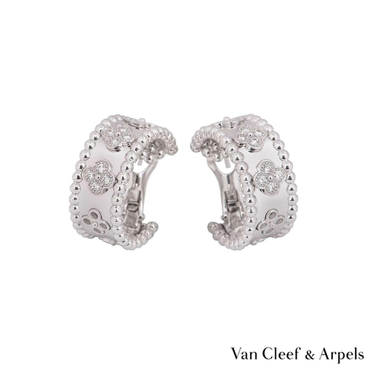 Van Cleef & Arpels White Gold Perlée Clovers Earrings VCARO2ML00
